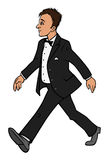 Man tuxedo walking Royalty Free Stock Photos