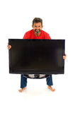 Man and TV Stock Photo