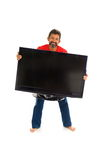 Man and TV Royalty Free Stock Photos