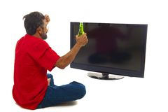 Man and TV Stock Image