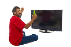 Man and TV Stock Photography