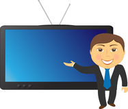 Man on TV background Royalty Free Stock Photo