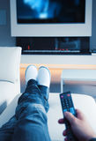 Man by TV Stock Image