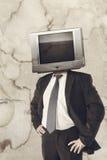 Man with tv head Royalty Free Stock Photos