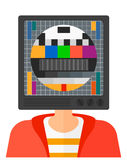 Man with TV head Stock Image