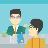 Man during tv interview. An asian male journalist interviewing a young man on a light blue background. Vector flat design illustration. Square layout Royalty Free Stock Photography