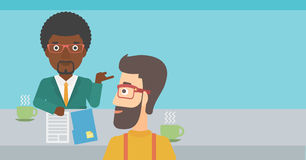 Man during tv interview. A journalist interviewing an african-american man on a light blue background vector flat design illustration. Horizontal layout Royalty Free Stock Photo