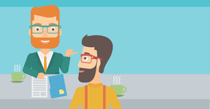 Man during tv interview. A journalist interviewing a hipster man with the beard on a light blue background vector flat design illustration. Horizontal layout Royalty Free Stock Photo
