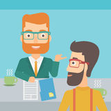 Man during tv interview. A journalist interviewing a hipster man with the beard on a light blue background vector flat design illustration. Square layout Royalty Free Stock Photo
