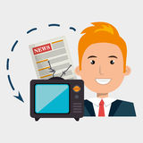 Man tv reportage news. Illustration eps 10 Stock Image