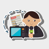 Man tv reportage news. Illustration eps 10 Royalty Free Stock Photography