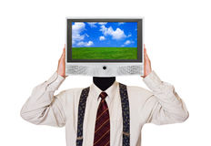 Man with tv screen for head Royalty Free Stock Photography