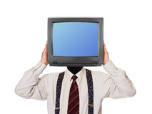 Man with tv screen for head Stock Image