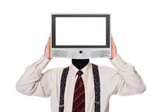 Man with tv screen for head. Isolated on white background Royalty Free Stock Photos