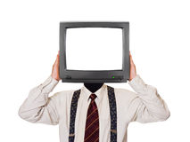 Man with tv screen for head Royalty Free Stock Images