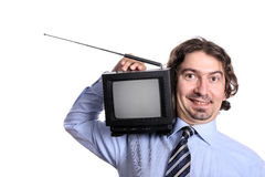 Man with TV set stock images