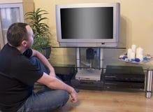 man tv watching Στοκ φωτογραφία με δικαίωμα ελεύθερης χρήσης
