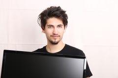 Man with a TV stock photos