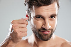Man tweezing his eyebrows isolated. Bearded young man tweezering his eyebrows in the morning isolated over grey Stock Image
