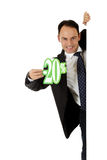 Man, twenty percent discount sign Stock Photos