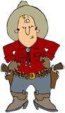 Man With Two 6-Shooters. This illustration depicts a cowboy with two revolvers on his belt Royalty Free Stock Image