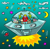 Man with two aliens in a flying saucer stock illustration