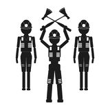 A man with two axes and two assistants Vector black icon on white background. Stock Photos