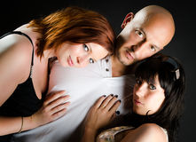 Man and two beautiful women Royalty Free Stock Images