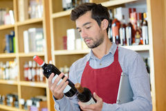 Man with two bottles wine. Man with two bottles of wine Stock Photography