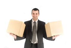 Man with two box Royalty Free Stock Photos