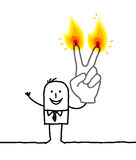 Man with two burning fingers. Hand drawn cartoon characters Stock Photos