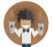 Man with two coffee Royalty Free Stock Photos