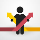 Man with two color arrows. Simple black silhouette of a man with two color arrows Royalty Free Stock Photos