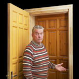 Man and two doors. Royalty Free Stock Photos
