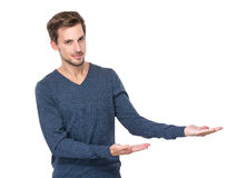 Man with two hand show with blank sign. Caucasian man isolated on white Stock Photo