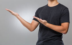 Man with two hand show with blank sign Stock Images