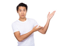 Man with two open hand palm Royalty Free Stock Image
