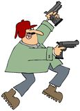 Man with two pistols. This illustration depicts a man pointing two pistols in the air Stock Photo