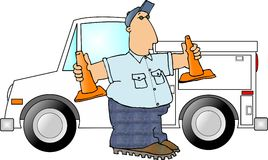 Man with two safety cones. This illustration that I created depicts a man standing by his work truck and holding safety cones Royalty Free Stock Photography