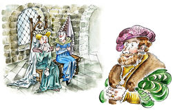 Man and two sneezing women in medieval cold castle`s room. Comic illustration Royalty Free Stock Photography