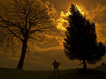 A man and two trees. Silhouette man with two big trees on cloudy sunset royalty free stock photo