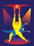 A man and two women are a circus acrobat Stock Image