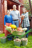 Man and two women with  harvest in garden Stock Images