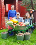 Man and two women with  harvested vegetables Stock Photos