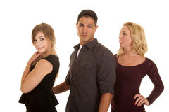 Man between two women serious Stock Image