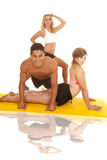Man and two women workout push up look Royalty Free Stock Photo
