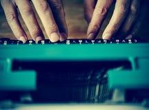 Man typewriting, filtered Royalty Free Stock Photography