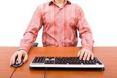 Man typing in the computer keyboard Royalty Free Stock Images