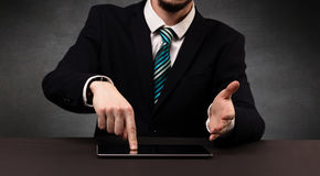 Man typing  in formal clothing Stock Photos