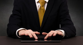Man typing  in formal clothing Stock Photography